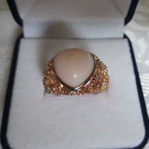 Lab Created Heart Shape Pink Opal Rose Gold/925 S6